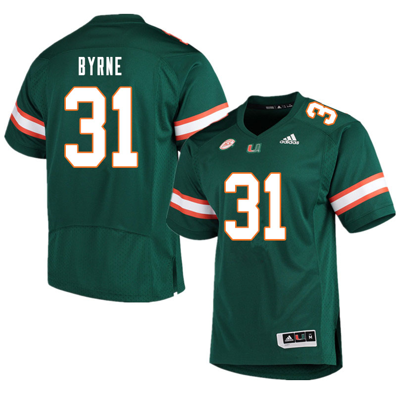 Men #31 Connor Byrne Miami Hurricanes College Football Jerseys Sale-Green