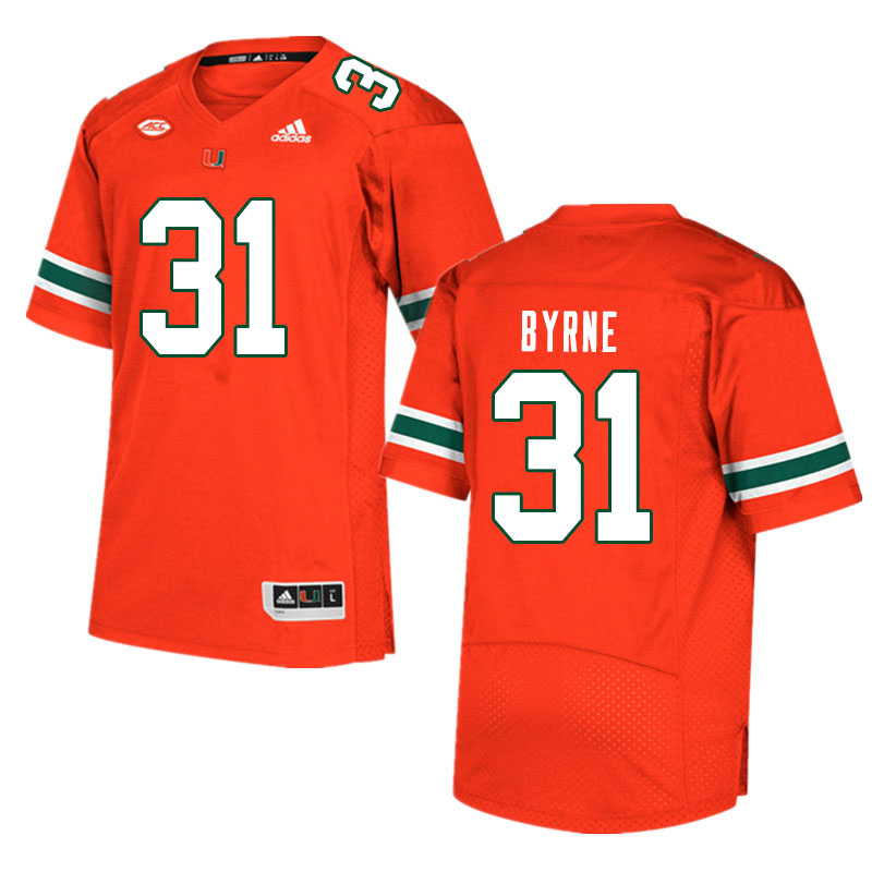 Men #31 Connor Byrne Miami Hurricanes College Football Jerseys Sale-Orange