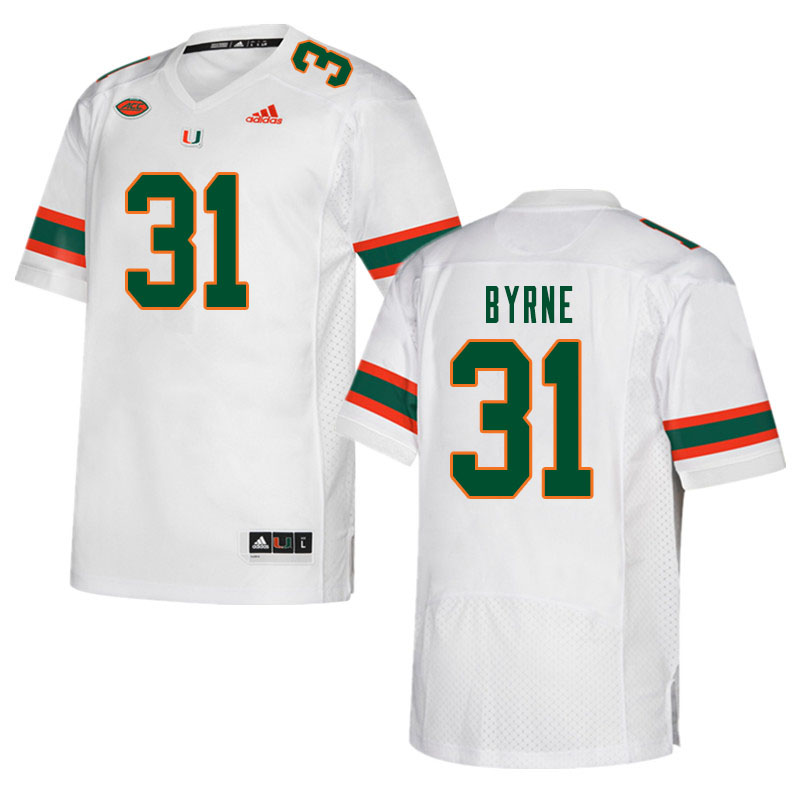 Men #31 Connor Byrne Miami Hurricanes College Football Jerseys Sale-White