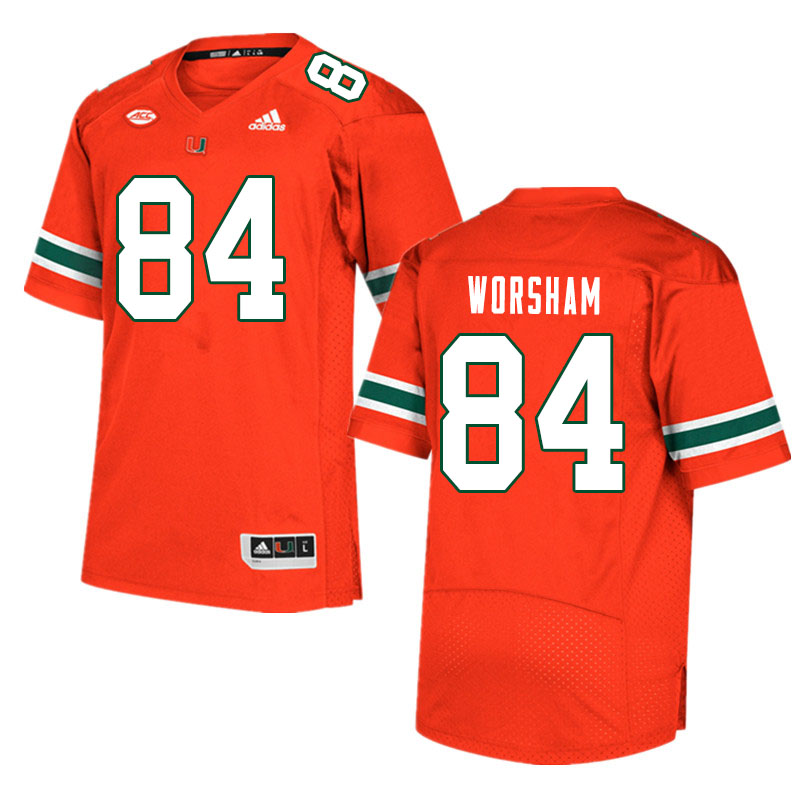 Men #84 Dazalin Worsham Miami Hurricanes College Football Jerseys Sale-Orange
