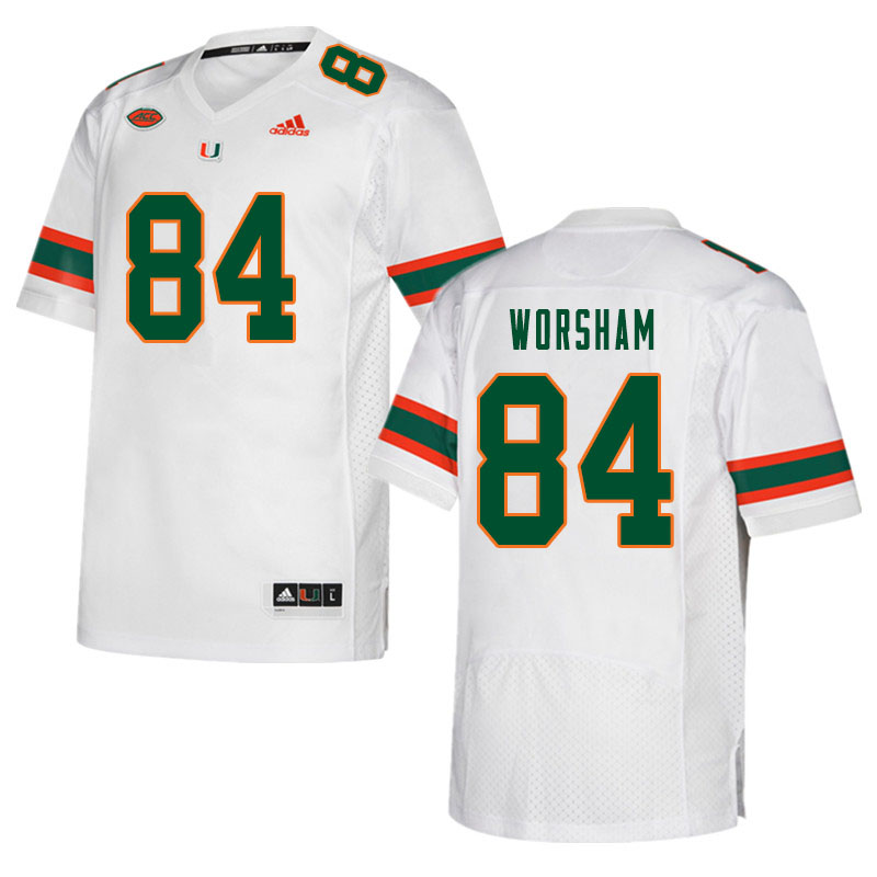 Men #84 Dazalin Worsham Miami Hurricanes College Football Jerseys Sale-White