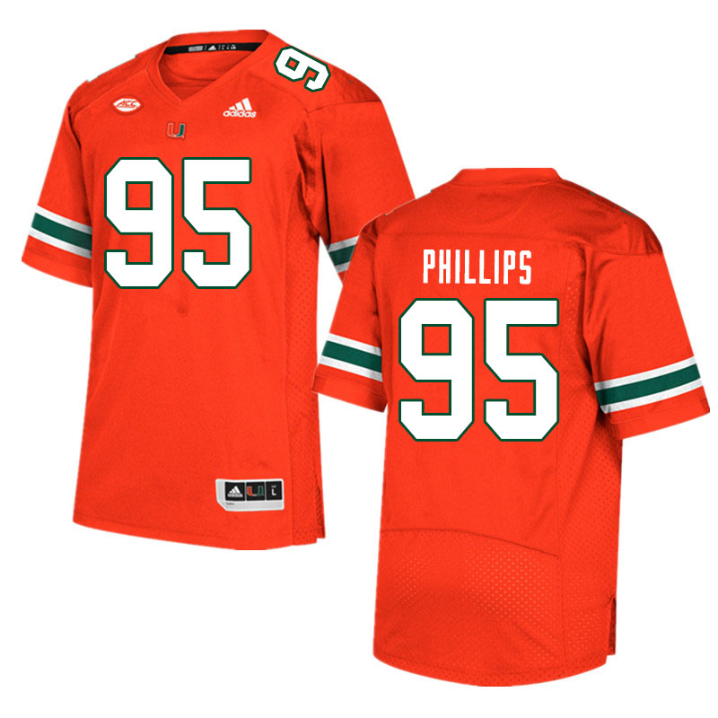 Men #95 Jaelan Phillips Miami Hurricanes College Football Jerseys Sale-Orange