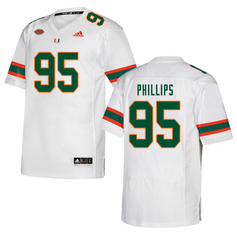 Men #95 Jaelan Phillips Miami Hurricanes College Football Jerseys Sale-White