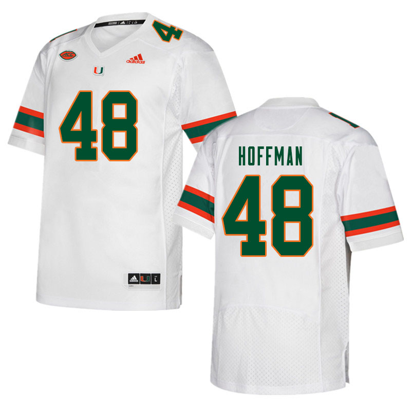 Men #48 Jake Hoffman Miami Hurricanes College Football Jerseys Sale-White
