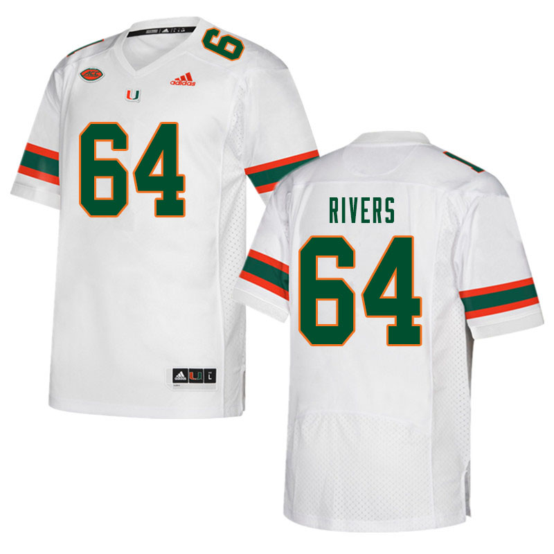 Men #64 Jalen Rivers Miami Hurricanes College Football Jerseys Sale-White