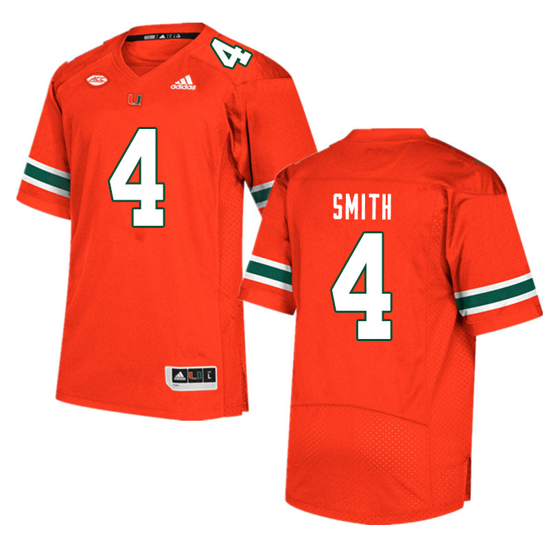 Men #4 Keontra Smith Miami Hurricanes College Football Jerseys Sale-Orange