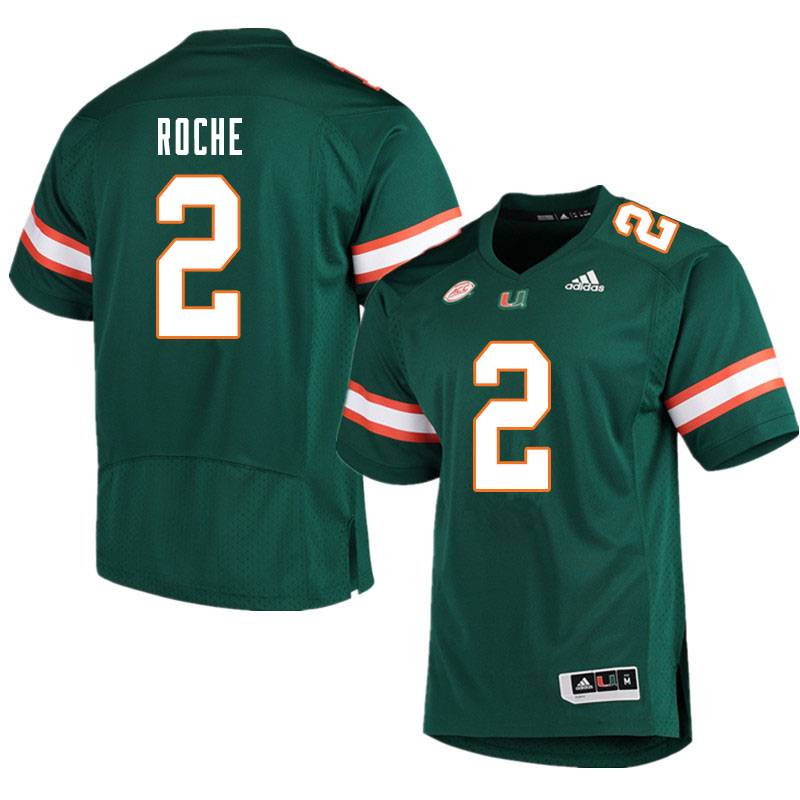 Men #2 Quincy Roche Miami Hurricanes College Football Jerseys Sale-Green