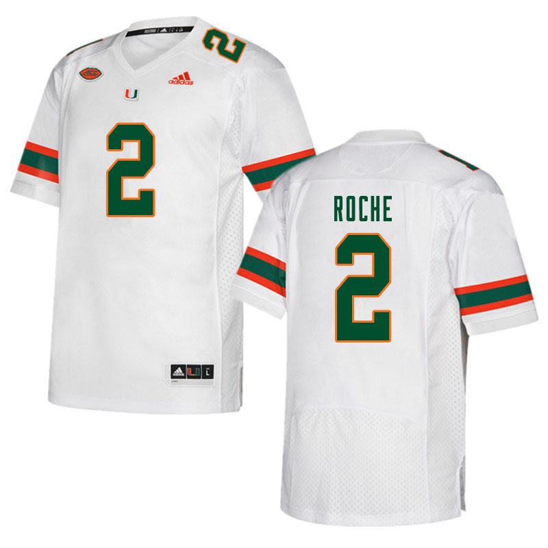 Men #2 Quincy Roche Miami Hurricanes College Football Jerseys Sale-White