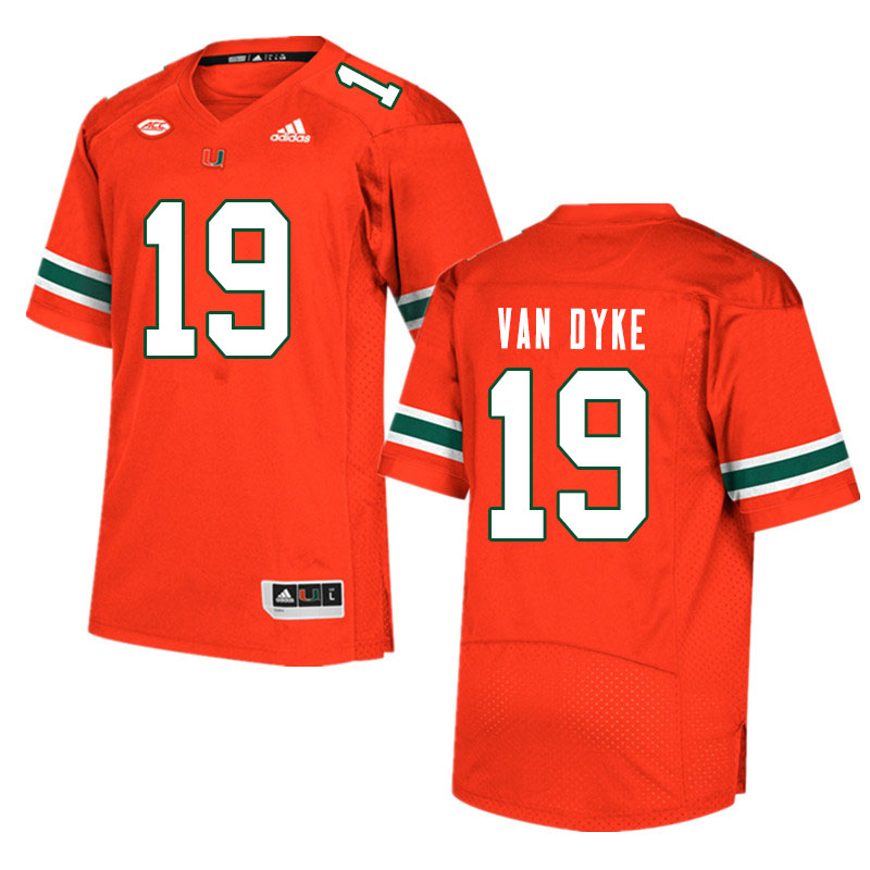 Men #19 Tyler Van Dyke Miami Hurricanes College Football Jerseys Sale-Orange