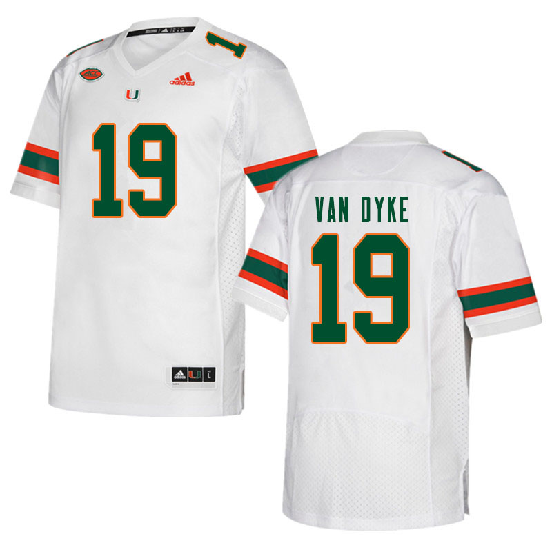 Men #19 Tyler Van Dyke Miami Hurricanes College Football Jerseys Sale-White