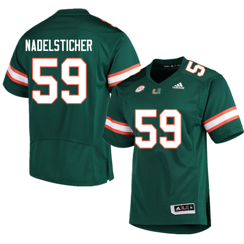 Adidas Miami Hurricanes #59 Alan Nadelsticher College Football Jerseys Sale-Green