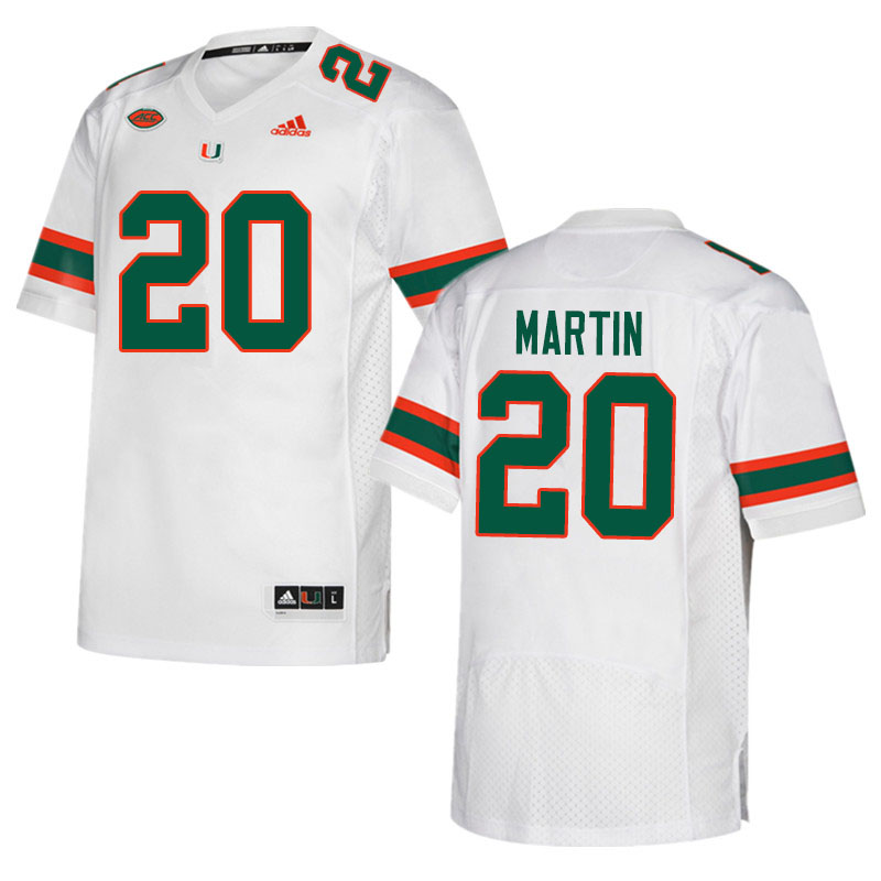 Adidas Miami Hurricanes #20 Asa Martin College Football Jerseys Sale-White