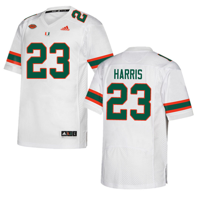 Adidas Miami Hurricanes #23 Cam'Ron Harris College Football Jerseys Sale-White