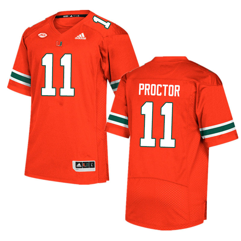 Adidas Miami Hurricanes #11 Carson Proctor College Football Jerseys Sale-Orange