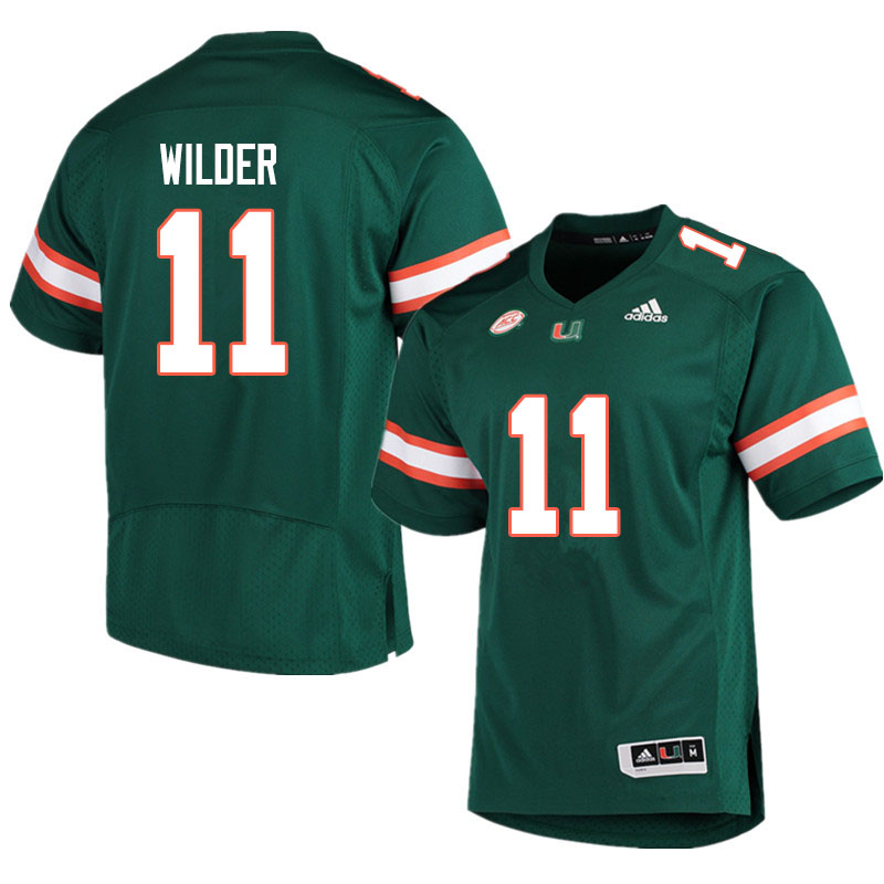 Adidas Miami Hurricanes #11 De'Andre Wilder College Football Jerseys Sale-Green