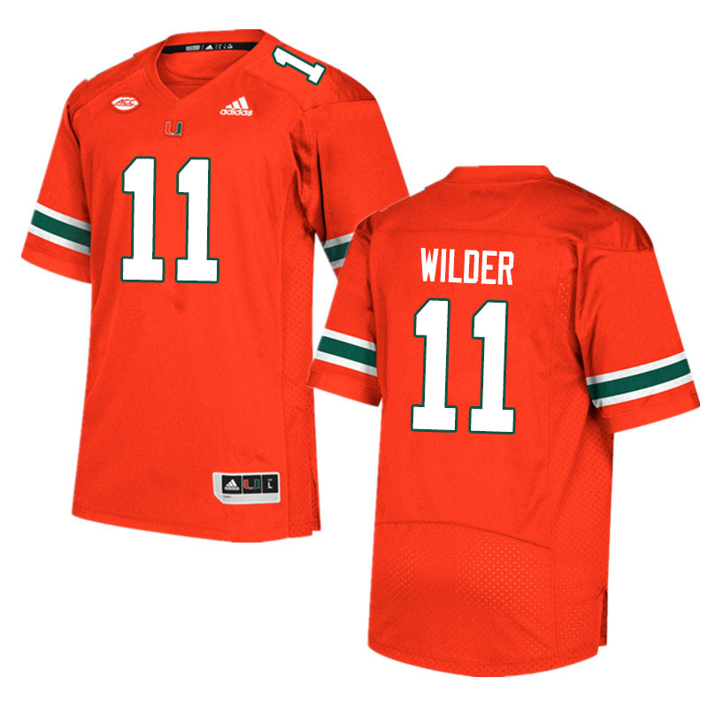 Adidas Miami Hurricanes #11 De'Andre Wilder College Football Jerseys Sale-Orange