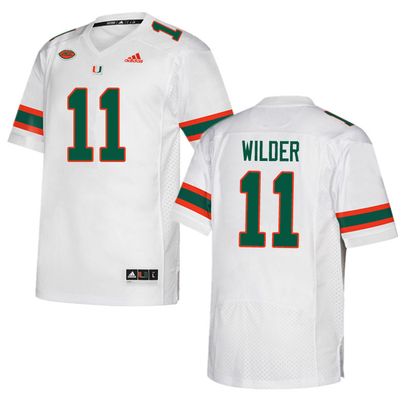Adidas Miami Hurricanes #11 De'Andre Wilder College Football Jerseys Sale-White