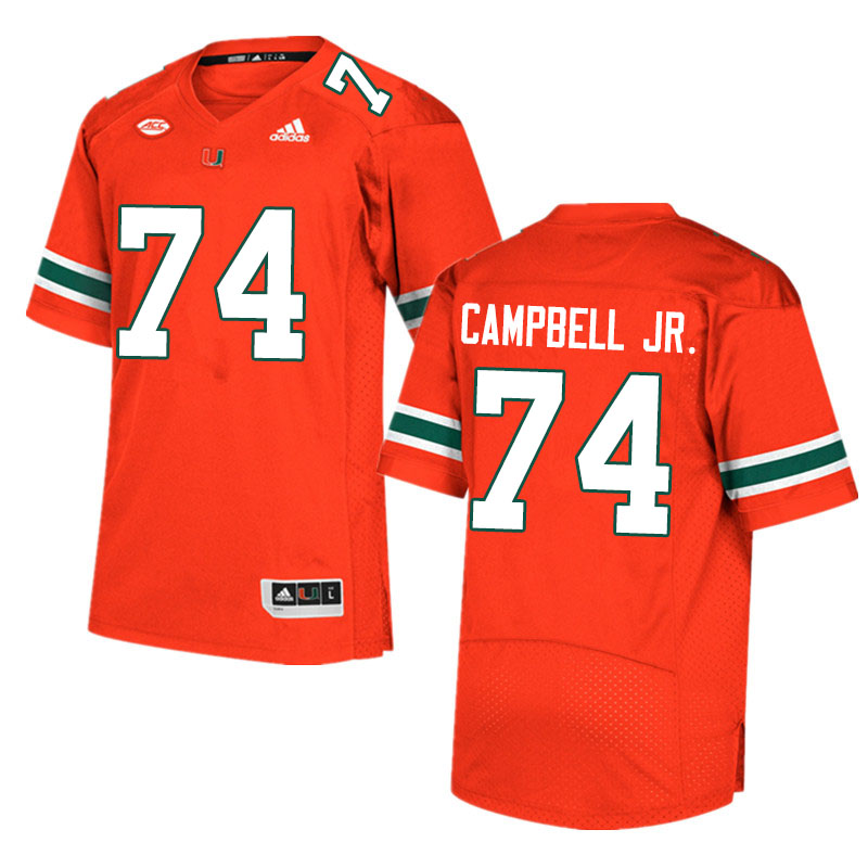 Adidas Miami Hurricanes #74 John Campbell Jr. College Football Jerseys Sale-Orange
