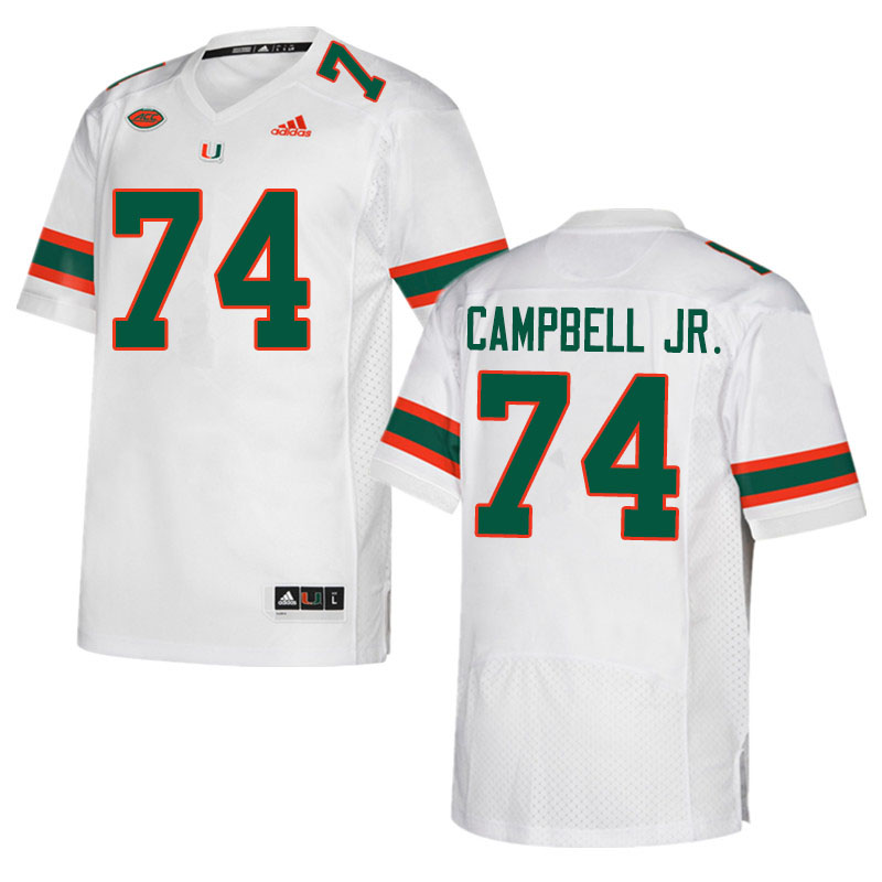 Adidas Miami Hurricanes #74 John Campbell Jr. College Football Jerseys Sale-White