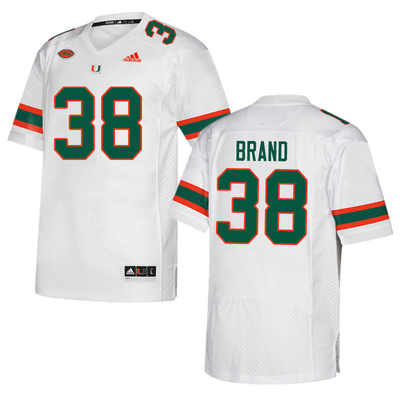 Adidas Miami Hurricanes #38 Robert Brand College Football Jerseys Sale-White