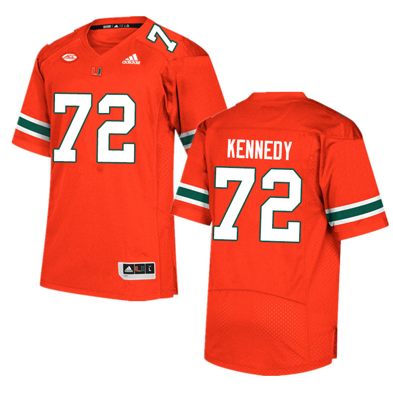 Adidas Miami Hurricanes #72 Tommy Kennedy College Football Jerseys Sale-Orange