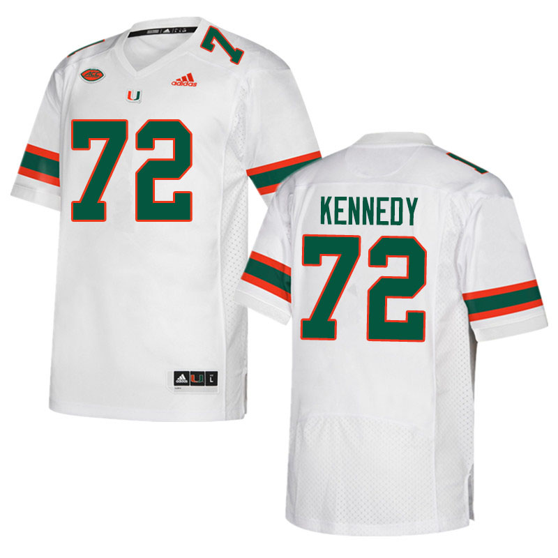 Adidas Miami Hurricanes #72 Tommy Kennedy College Football Jerseys Sale-White