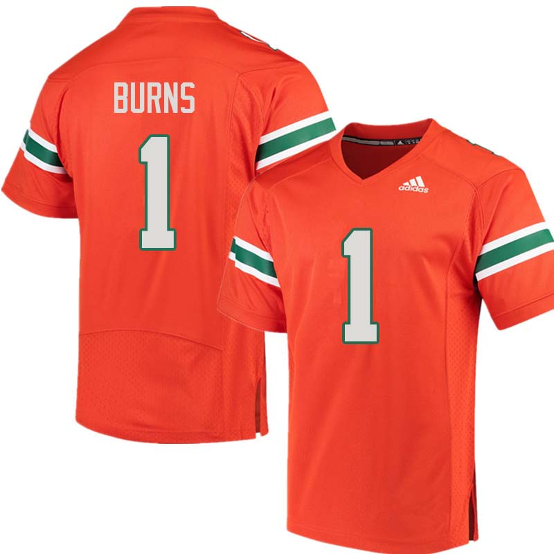 Adidas Miami Hurricanes #1 Artie Burns College Football Jerseys Sale-Orange