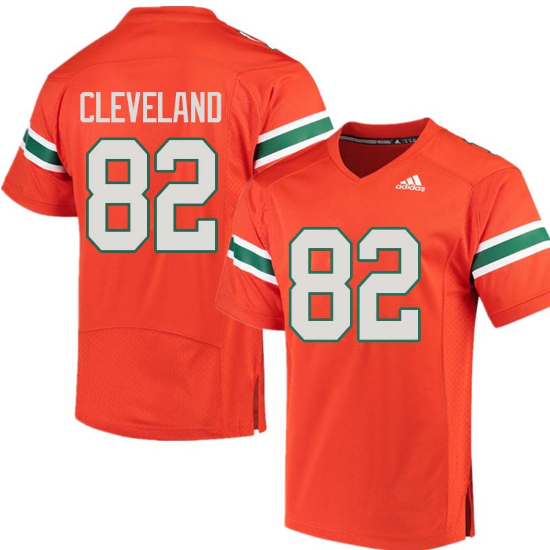 Adidas Miami Hurricanes #82 Asante Cleveland College Football Jerseys Sale-Orange