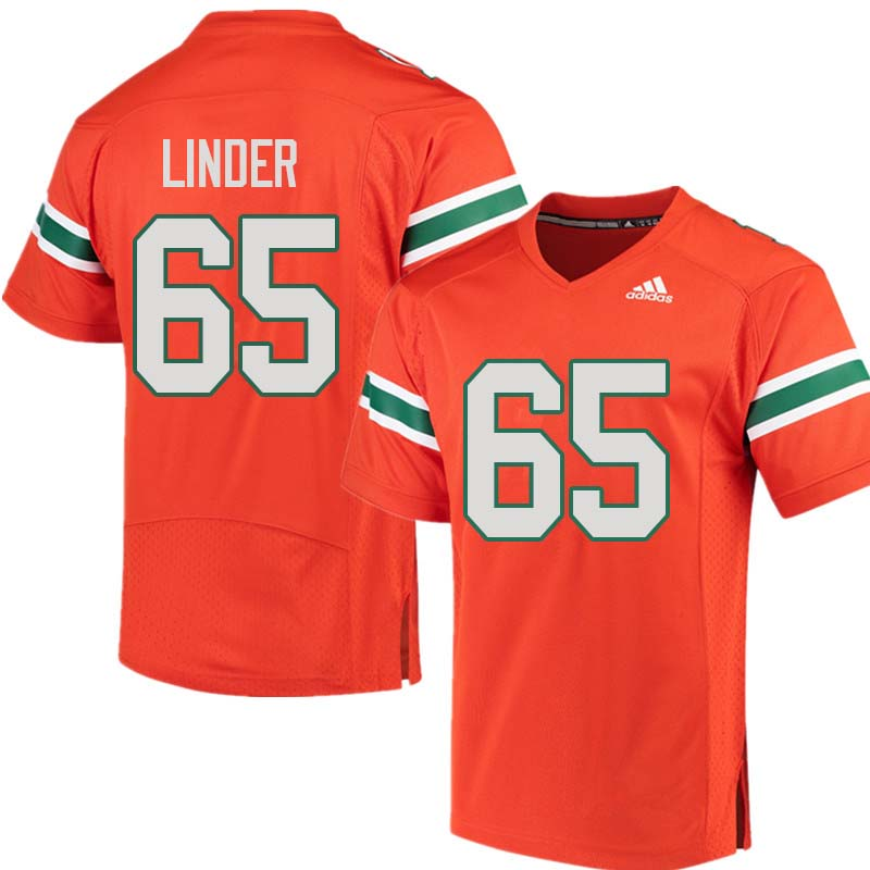 Adidas Miami Hurricanes #65 Brandon Linder College Football Jerseys Sale-Orange