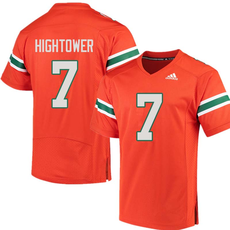 Adidas Miami Hurricanes #7 Brian Hightower College Football Jerseys Sale-Orange