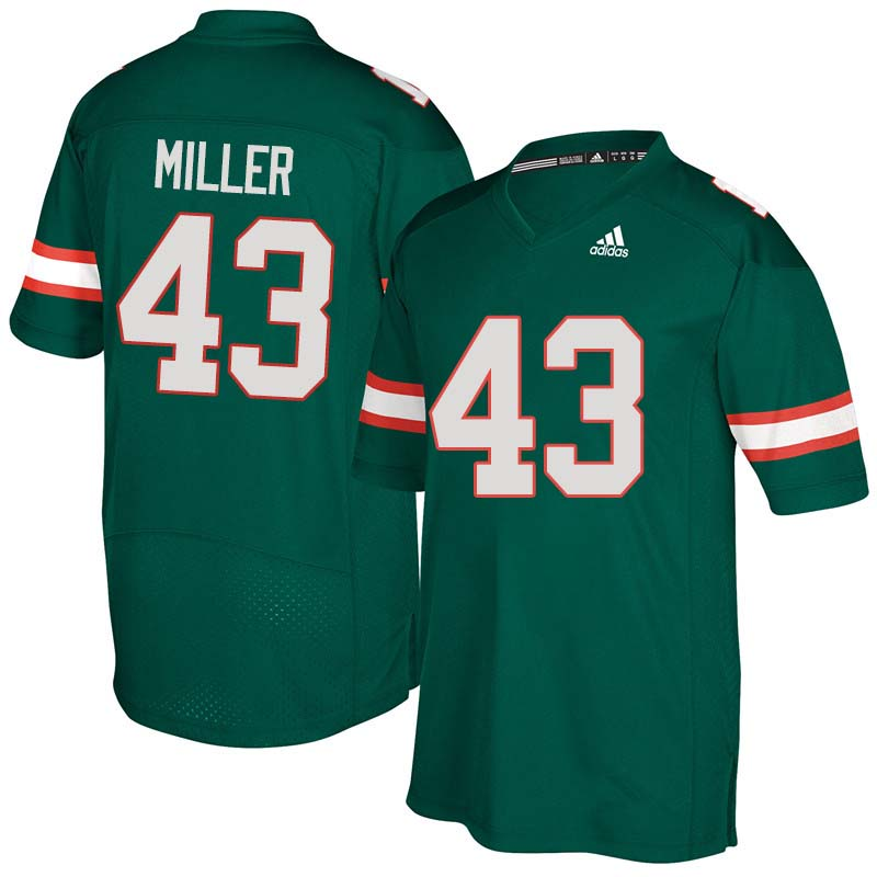 Adidas Miami Hurricanes #43 Brian Miller College Football Jerseys Sale-Green