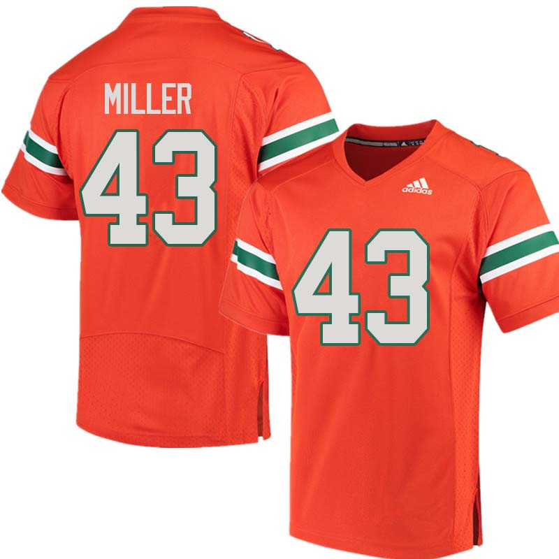 Adidas Miami Hurricanes #43 Brian Miller College Football Jerseys Sale-Orange