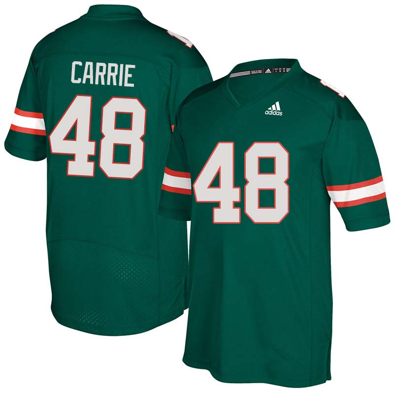 Adidas Miami Hurricanes #48 Calvin Carrie College Football Jerseys Sale-Green
