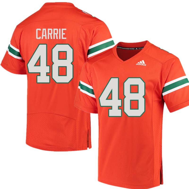 Adidas Miami Hurricanes #48 Calvin Carrie College Football Jerseys Sale-Orange