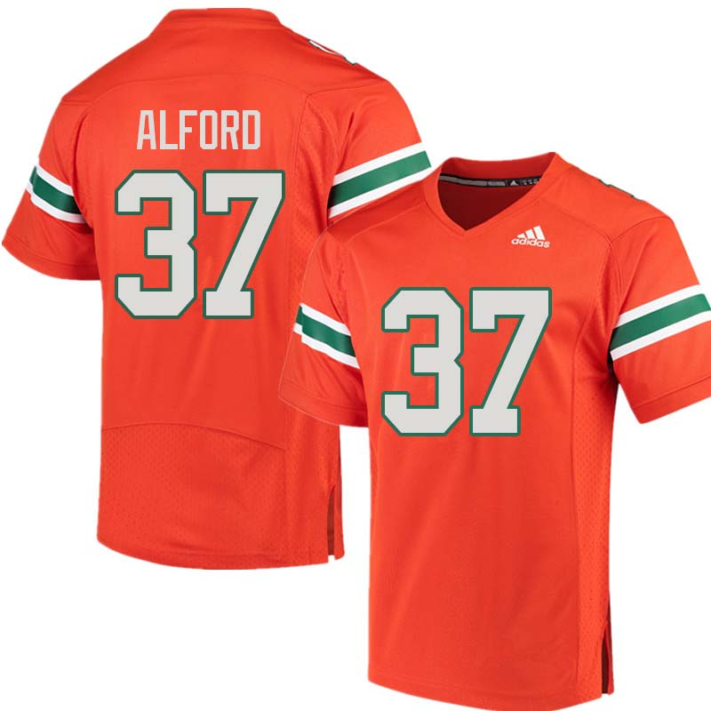 Adidas Miami Hurricanes #37 Colvin Alford College Football Jerseys Sale-Orange