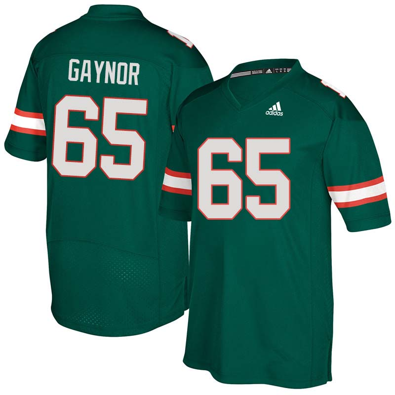 Adidas Miami Hurricanes #65 Corey Gaynor College Football Jerseys Sale-Green