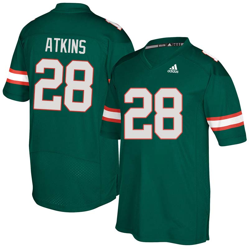 Adidas Miami Hurricanes #28 Crispian Atkins College Football Jerseys Sale-Green
