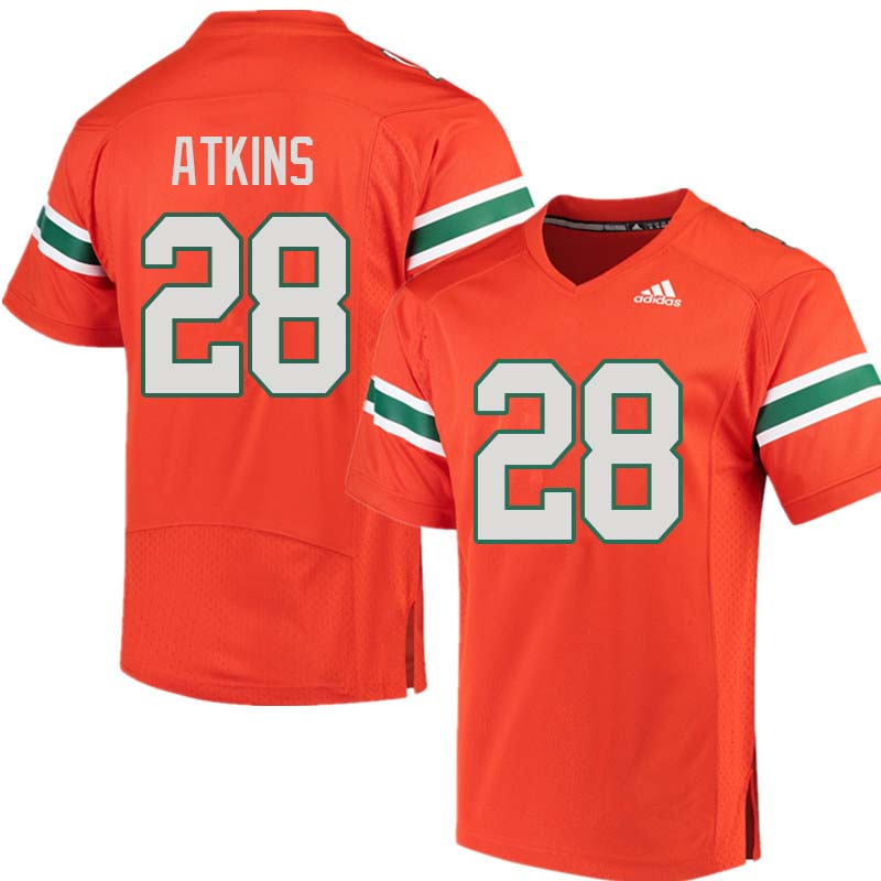 Adidas Miami Hurricanes #28 Crispian Atkins College Football Jerseys Sale-Orange