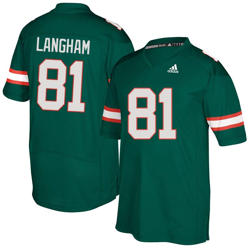 Adidas Miami Hurricanes #81 Darrell Langham College Football Jerseys Sale-Green
