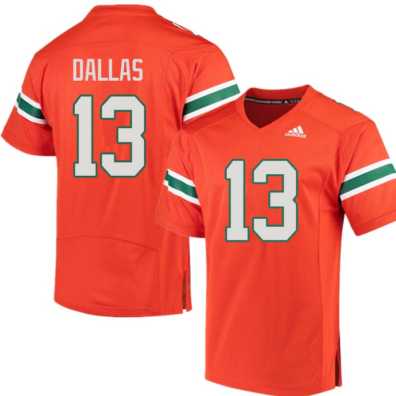 Adidas Miami Hurricanes #13 DeeJay Dallas College Football Jerseys Sale-Orange
