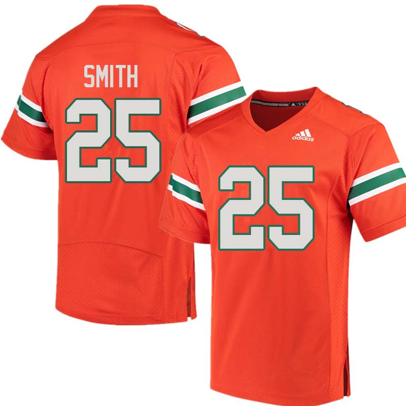 Adidas Miami Hurricanes #25 Derrick Smith College Football Jerseys Sale-Orange