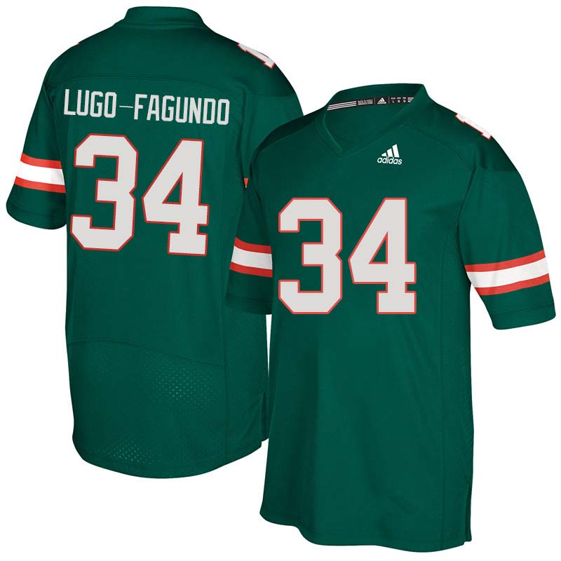 Adidas Miami Hurricanes #34 Elias Lugo-Fagundo College Football Jerseys Sale-Green
