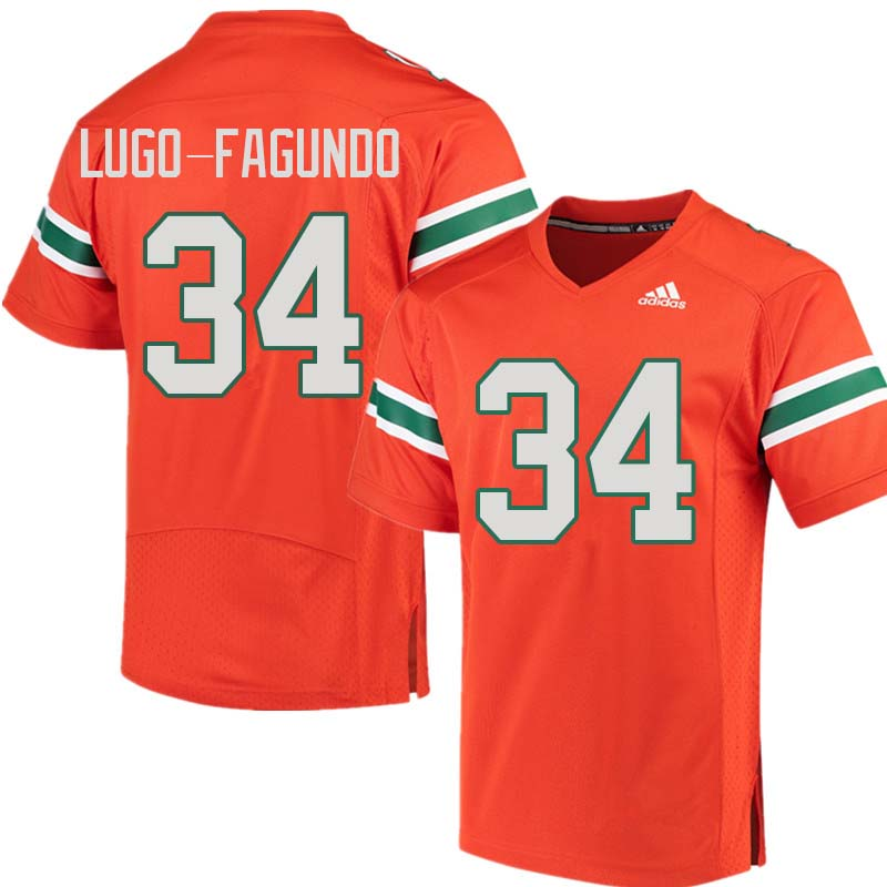 Adidas Miami Hurricanes #34 Elias Lugo-Fagundo College Football Jerseys Sale-Orange