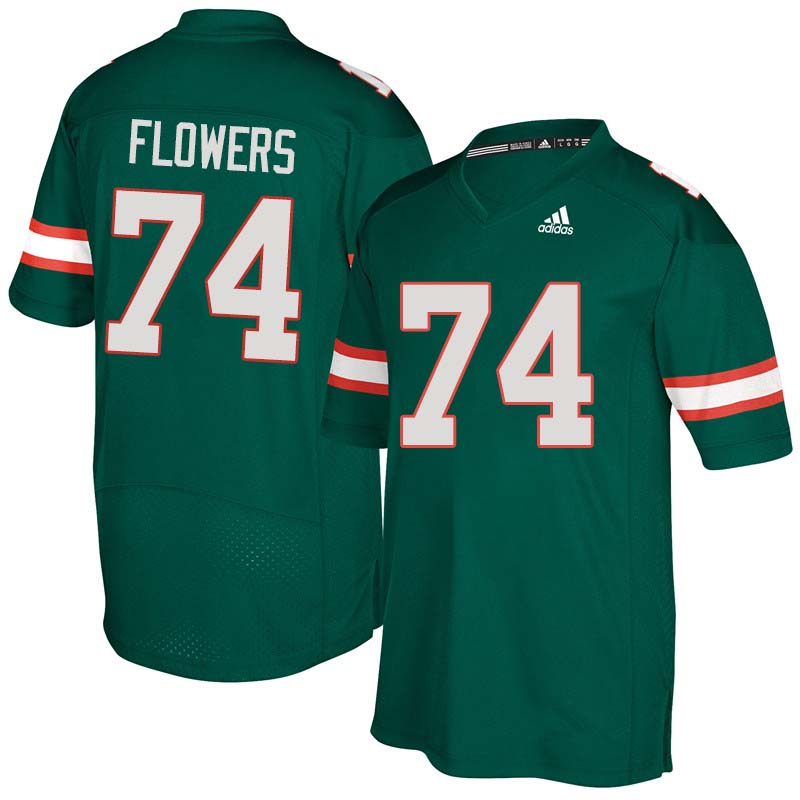 Adidas Miami Hurricanes #74 Ereck Flowers College Football Jerseys Sale-Green