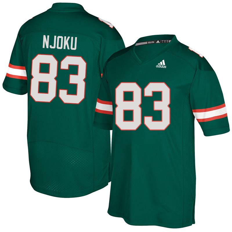 Adidas Miami Hurricanes #83 Evidence Njoku College Football Jerseys Sale-Green