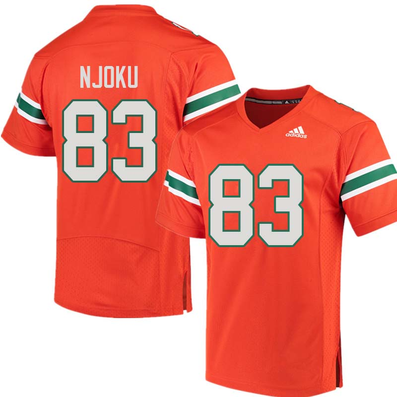 Adidas Miami Hurricanes #83 Evidence Njoku College Football Jerseys Sale-Orange