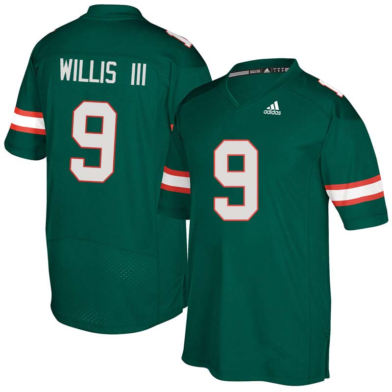 Adidas Miami Hurricanes #9 Gerald Willis III College Football Jerseys Sale-Green