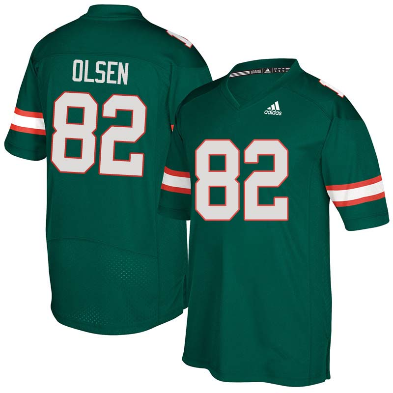 Adidas Miami Hurricanes #82 Greg Olsen College Football Jerseys Sale-Green