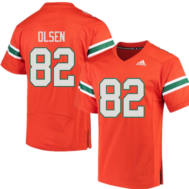 Adidas Miami Hurricanes #82 Greg Olsen College Football Jerseys Sale-Orange