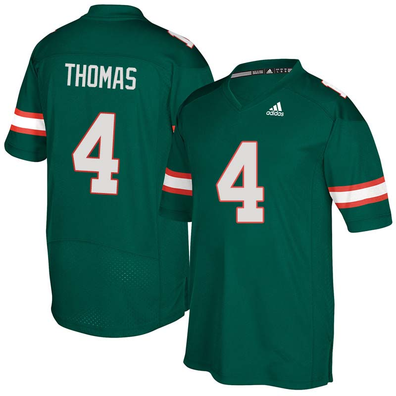 336850d4b Adidas Miami Hurricanes  4 Jeff Thomas College Football Jerseys Sale-Green